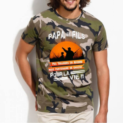"Tee-Shirt personnalisé camouflage chasseur, humour ""Papa et fils pour la vie"""