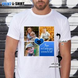 """T-shirt Personnalisé avec photos et texte de votre choix """"Papa on t'aime gros comme le ciel"""""""
