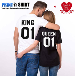 Duo tee-shirts KING / QUEEN Cadeaux Saint Valentin