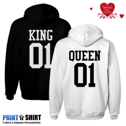 Duo tee-shirts KING QUEEN cadeaux st valentin