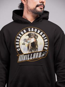 "Sweat à Capuche hutte, huttier, Maillard ""Chasseur Sauvaginier Labrador Marron"""