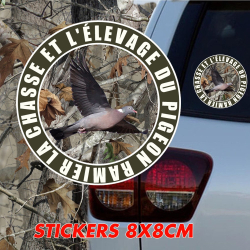 Stickers Voiture 8 X 8 cm Chasse & Elevage de pigeon ramier