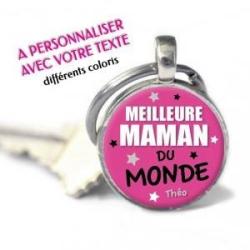 """Porte-clés Rond personnalisé prénom """"Meilleure maman du monde"""""""
