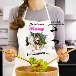 """Tablier de cuisine """"Je suis une Mamy qui déchiiire"""" personnalisé avec photo"""