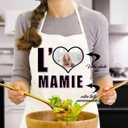 """Tablier de cuisine """"I love mamie"""" personnalisé avec photo"""