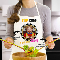 """Tablier de cuisine humour personnalisé """"Top chef c'est ma mamy"""""""