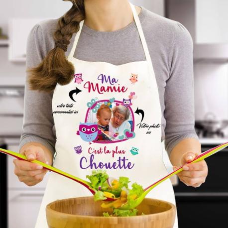 """Tablier de cuisine personnalisé """"Ma Mamie c'est la plus chouette"""" avec photo"""
