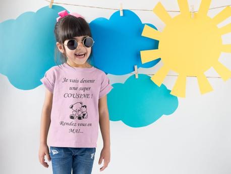 """T-shirts Enfant Personnalisé """"Je vais bientôt devenir une super cousine !"""