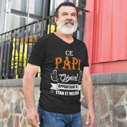"""T-shirt Personnalisé """"Ce papi génial appartient à"""" Prénom au choix"""