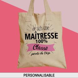 "Sac shopping, cabas personnalisé prénom ""100 % Classe"""