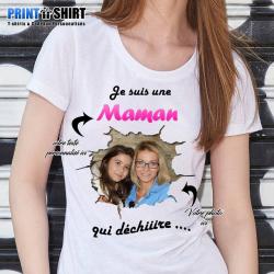 """Tee shirt personnalisé avec photo """"Je suis une maman qui déchire"""""""