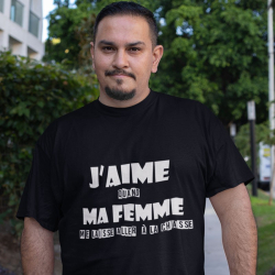 "Tee-Shirt personnalisé humour chasseur ""J'aime quand ma femme..."""