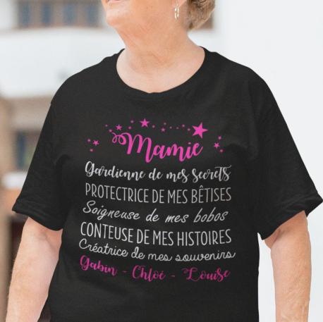 """T-shirt Personnalisé """" Mamie gardienne de mes secrets"""""""