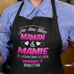 """Tablier de cuisine """"J'ai deux titres maman & mamie"""""""