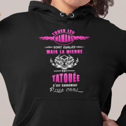 Sweat à capuche humour maman et tatoué