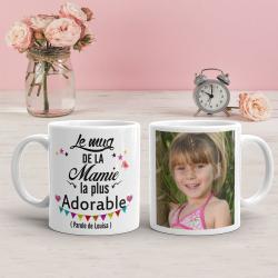 """Mug personnalisé """"Le mug de la mamie la plus adorable"""""""