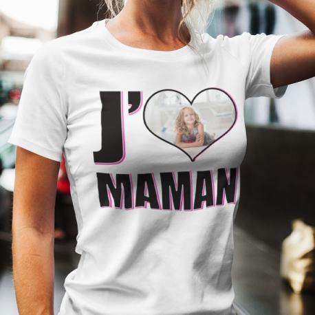 """T-shirt personnalisé avec photo """"J'aime Maman"""""""