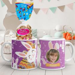 Mug de Pâques rose lapin personnalisé