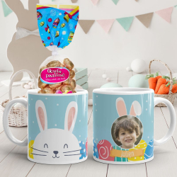 Mug de Pâques lapin bleu personnalisé