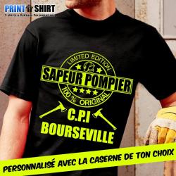 """Tee shirt personnalisé Pompier """"Edition Limitée"""""""