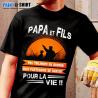 """Tee-Shirt personnalisé, humour """"Papa et fils chasseur"""""""
